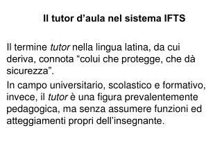 Il tutor d aula nel sistema IFTS