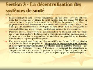 Section 3 - La d centralisation des syst mes de sant   Extrait de : D centralisation des syst mes de sant . Quelques r f