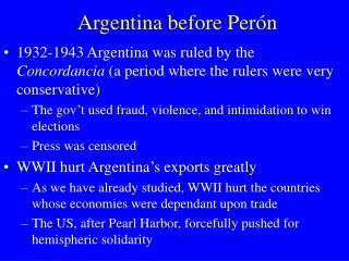 Argentina before Per �n
