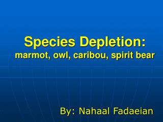 Species Depletion: marmot, owl, caribou, spirit bear