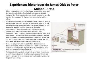 Expériences  historiques de James Olds et Peter Milner – 1952