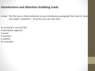 Introductions and Attention Grabbing Leads