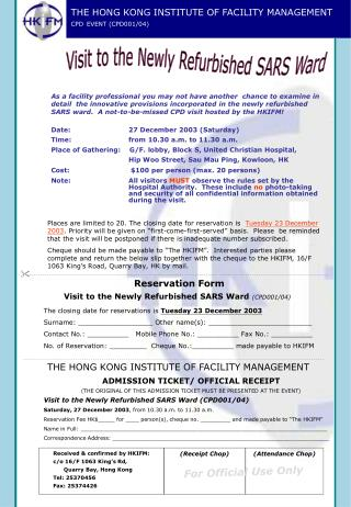 THE HONG KONG INSTITUTE OF FACILITY MANAGEMENT CPD EVENT (CPD001/04)