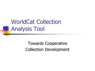WorldCat Collection  Analysis Tool