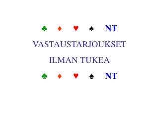 ♣ ♦ ♥ ♠ NT VASTAUSTARJOUKSET ILMAN TUKEA ♣ ♦ ♥ ♠ NT