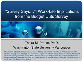 """Survey Says…"": Work-Life Implications from the Budget Cuts Survey"
