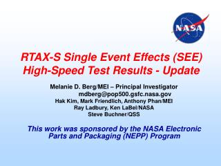 RTAX-S Single Event Effects SEE High-Speed Test Results - Update