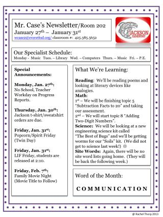 Mr. Case's Newsletter /Room 202 January  27 th –  January  31 st
