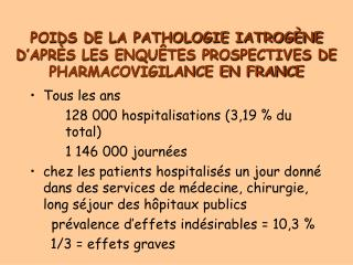 POIDS DE LA PATHOLOGIE IATROGÈNE D'APRÈS LES ENQUÊTES PROSPECTIVES DE PHARMACOVIGILANCE EN FRANCE