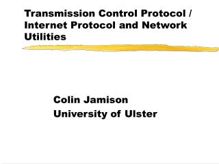 Transmission Control Protocol / Internet Protocol and Network Utilities