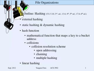 Outline: Hashing  (5.9, 5.10, 3 rd . ed.; 13.8, 4 th , 5 th  ed.; 17.8, 6 th  ed.)