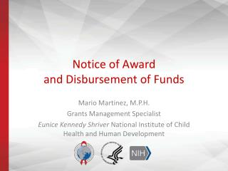Notice of Award and Disbursement of Funds