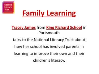 Family Learning Tracey James  from  King  Richard School  in  Portsmouth
