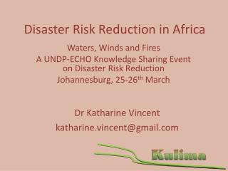 Disaster Risk Reduction in Africa