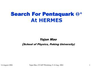 Yajun Mao  ( School of Physics, Peking University)