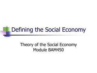 Defining the Social Economy
