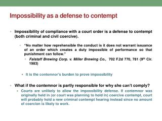 Impossibility as a defense to contempt