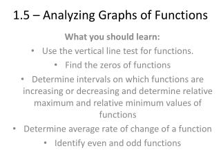 1.5 – Analyzing Graphs of Functions