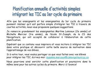 Planification annuelle dactivit s simples  int grant les TIC au 1er cycle du primaire