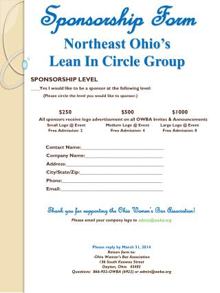 Sponsorship Form Northeast Ohio's Lean In Circle Group