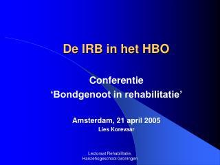 De IRB in het HBO