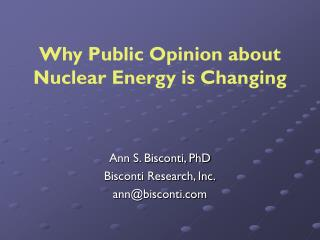 Ann S. Bisconti, PhD Bisconti Research, Inc. ann@bisconti