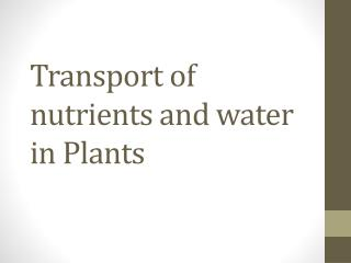 Transport  of  nutrients  and  water  in  Plants