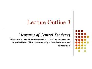 Lecture Outline 3
