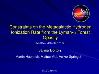 Constraints on the Metagalactic Hydrogen Ionization Rate from the Lyman- a  Forest Opacity