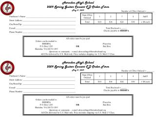 Herndon High School  2009 Spring Guitar Concert CD Order Form May 21, 2009