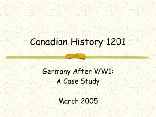 Canadian History 1201