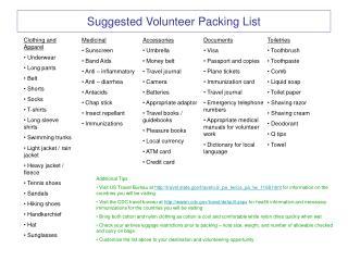 Suggested Volunteer Packing List