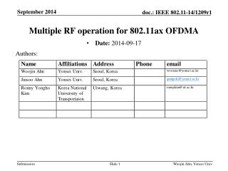 Multiple RF operation for 802.11ax OFDMA