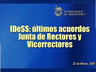 IDeSS: últimos acuerdos   Junta de Rectores y Vicerrectores