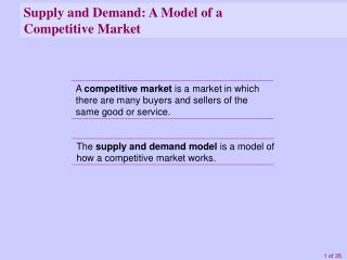 Supply and Demand: A Model of a Competitive Market