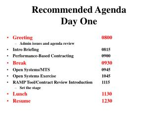 Recommended Agenda   Day One