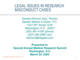 LEGAL ISSUES IN RESEARCH MISCONDUCT CASES