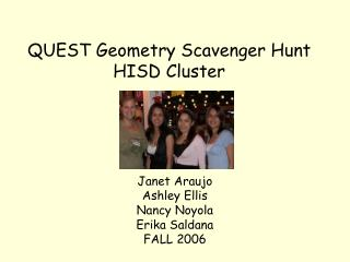 QUEST Geometry Scavenger Hunt HISD Cluster