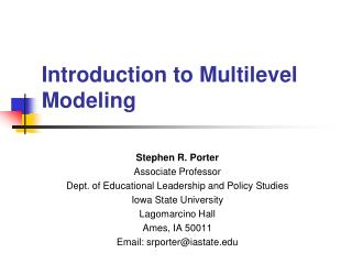 Introduction to Multilevel Modeling