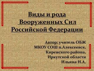 Виды и рода  Вооруженных Сил Российской Федерации