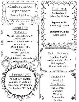 Kindergarten September Newsletter
