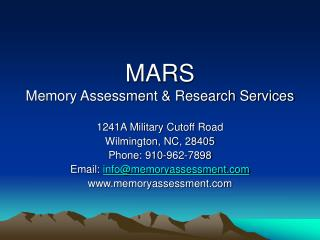 MARS Memory Assessment & Research Services