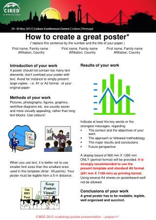 CIRED 2012 workshop poster presentation � paper n�