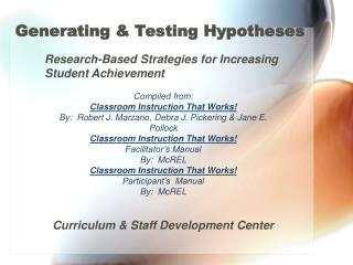 Generating & Testing Hypotheses