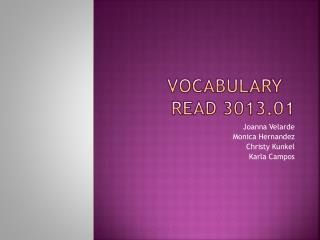 Vocabulary	 READ 3013.01