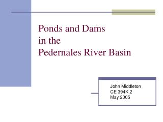 Ponds and Dams in the Pedernales River Basin