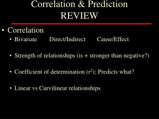Correlation & Prediction REVIEW