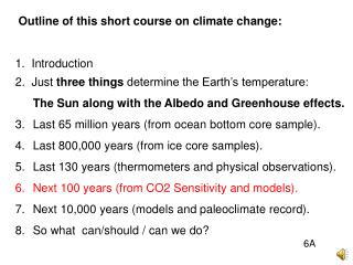 Outline of this short course on climate change: 1.  Introduction
