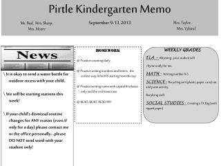 Pirtle  Kindergarten Memo  September  9-13,  2013