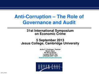 Anti-Corruption – The Role of Governance and Audit